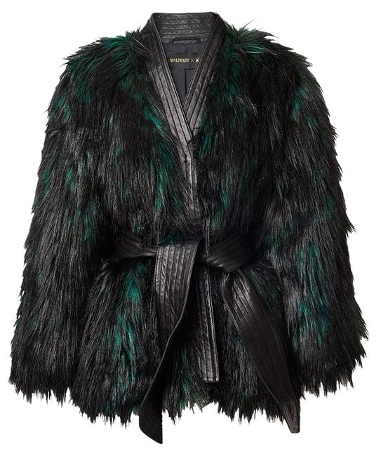 Item - Leather and Faux Fur Black/Green Coat Size 4 (S)