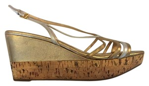 Prada Metallic Cork gold silver Wedges