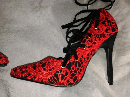 Other RED LACE BLACK VELVET LACE UP Pumps Image 10