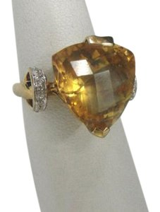 LeVian size 6.25, 14k yellow gold, yellow citrine, Pave diamond Ring