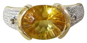 LeVian Levian, 14k yellow gold, size 8, bezel-cut, 1.75 ct. t.w. yellow citrine, genuine pave diamond, multistone, fashion, statement, designer ring