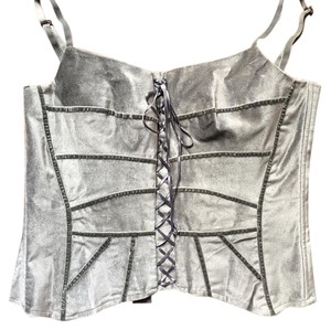 Bisou Bisou Bustier Velvety Evening Tailored Top Gray