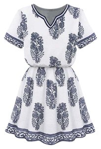 Goodnight Macaroon short dress White and navy Printed Graphic Summer on Tradesy