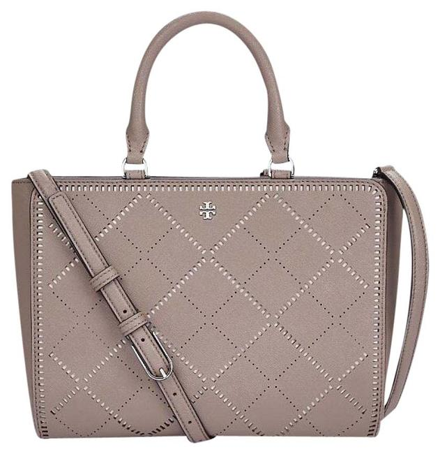 Item - Robinson Crosshatch Small Zip French Gray/New Ivory Leather Tote