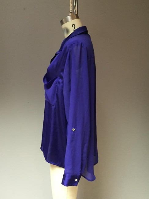 H&M Hiigh Low Slouch Bodice Royal Blue Silk Oversized Shirt Top Purple