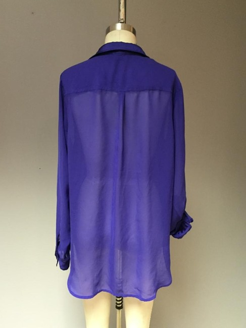 H&M Hiigh Low Bodice Royal Blue Silk Oversized Shirt Top Purple