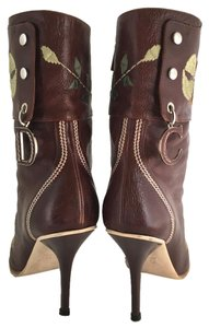 Dior Leather Midcalf Christian Cowboy Charms Brown Boots