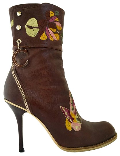 Dior Leather Midcalf Christian Cowboy Charms Brown Boots Image 1