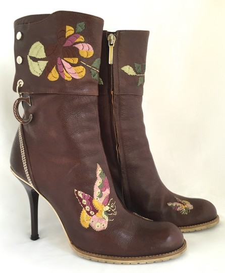 Dior Leather Midcalf Christian Cowboy Charms Brown Boots Image 4