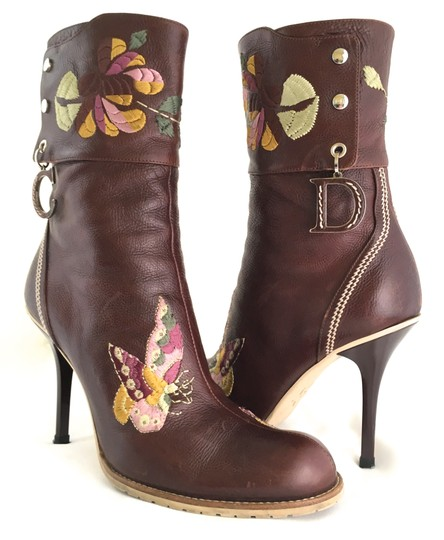 Dior Leather Midcalf Christian Cowboy Charms Brown Boots Image 3