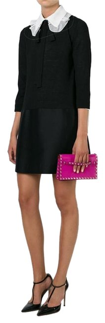 Item - Small Rockstud Flap Pink and Black Leather Clutch