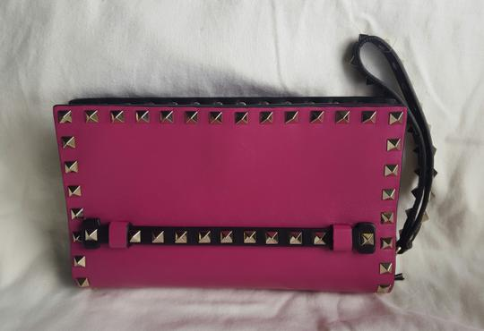 Valentino Small Rockstud Leather Pink and black Clutch Image 1