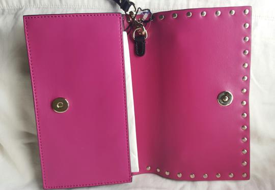 Valentino Small Rockstud Leather Pink and black Clutch Image 3