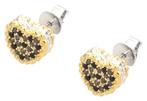 MBLife NEW 925 silver Heart Shape sandwich biscuit earrings with yellow and black zircon stones (FREE Macaron jewelries bag)