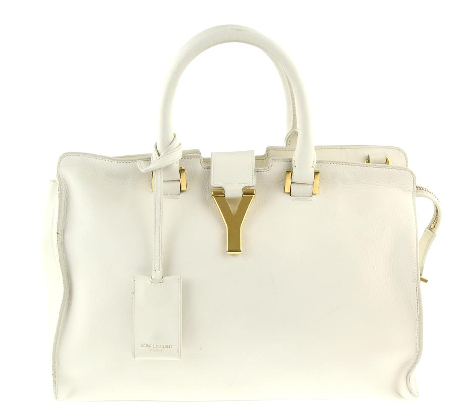 Saint Cross Small Off Y Bag Body Cabas Leather Laurent white wxPqwnvO7F