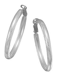 unknown Sterling Silver omega style hoop earrings with post clip back closure, 4mm x 40mm.