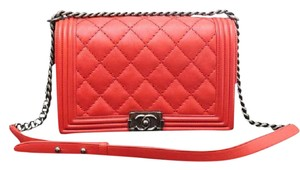 Chanel Medium Le Boy Boy Red Shoulder Bag