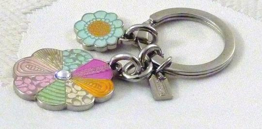 Coach Coach DAISY Floral Patchwork Key Ring Fob Purse Charm 92862 NEW