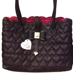 Betsey Johnson Tote in Black/Fuchsia