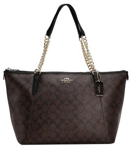 Coach Zip Gold Chain Strap Tote in Brown