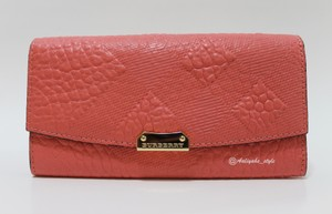 Burberry Burberry Porter Mixed Embossed Pattern Continental Wallet Rose Pink