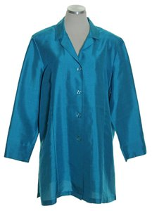 Diane Gilman Silk Duster Long Sleeve Blue Jacket