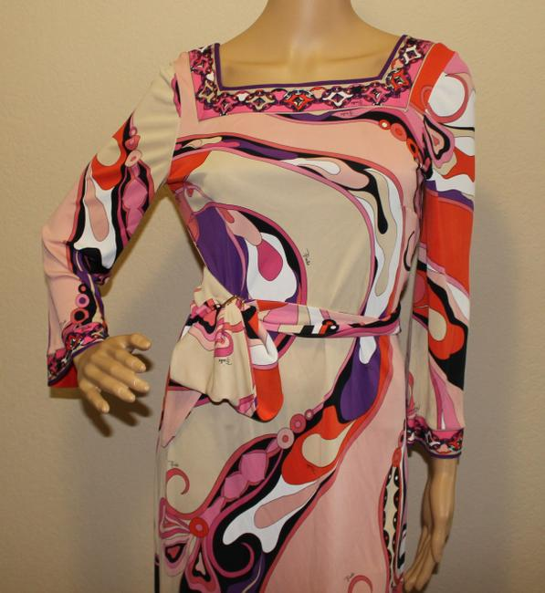 Emilio Pucci Square Neck Summer 3/4 Sleeve Abstract Print Dress Image 1