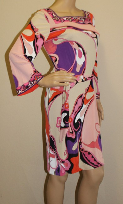 Emilio Pucci Square Neck Summer 3/4 Sleeve Abstract Print Dress Image 2