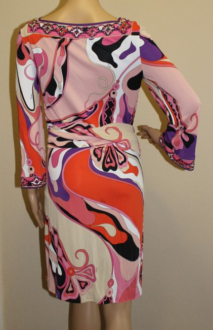 Emilio Pucci Square Neck Summer 3/4 Sleeve Abstract Print Dress Image 3