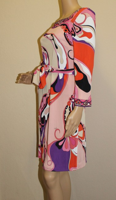 Emilio Pucci Square Neck Summer 3/4 Sleeve Abstract Print Dress Image 5
