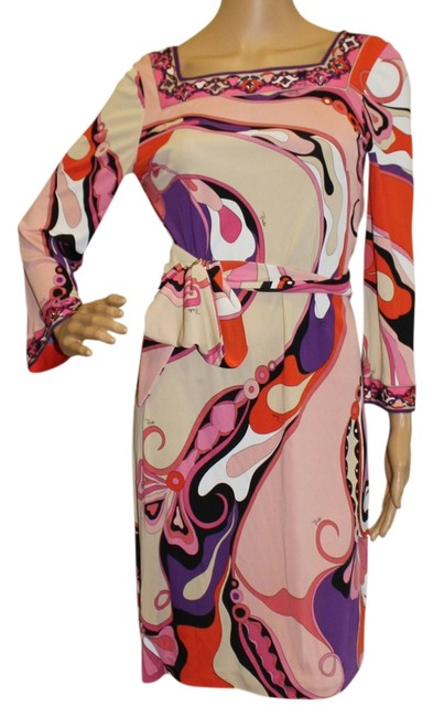 Emilio Pucci Square Neck Summer 3/4 Sleeve Abstract Print Dress