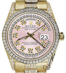 Rolex Rolex Presidential Day Date Vintage Pink Dial Diamond Watch 18 KT Yellow Gold