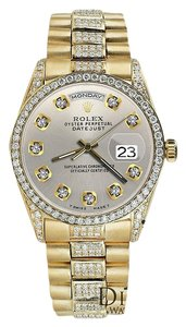 Rolex Rolex Presidential Day Date Silver Dial Diamond Watch 18 KT Yellow Gold