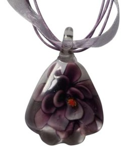 Other New Purple lampwork flower necklace