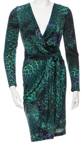 Emilio Pucci short dress Black, Purple, Green Longsleeve Wool V-neck on Tradesy