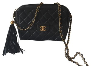 Chanel Camera Tassel Charm Quilted Lamb Skin Vintage Tote Flap Cross Body Bag