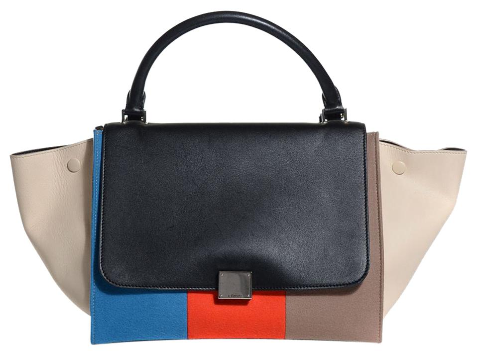 Céline Trapeze Red Blue Black and Taupe Leather Wool Shoulder Bag ... b159e020587e9