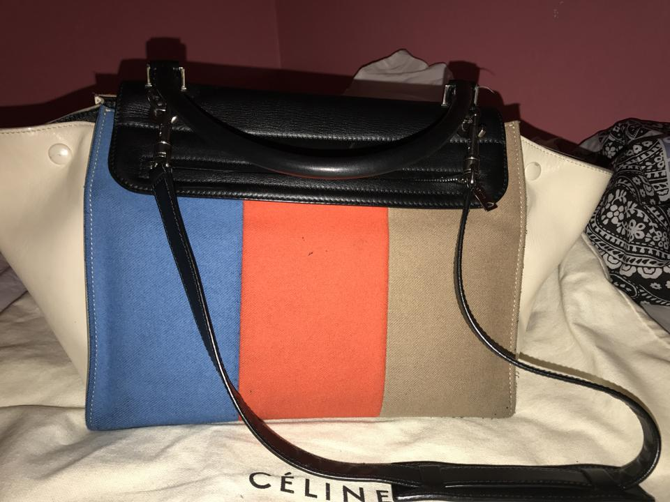 Céline Trapeze Red Blue Black and Taupe Leather Wool Shoulder Bag - Tradesy 6eebf103e0933