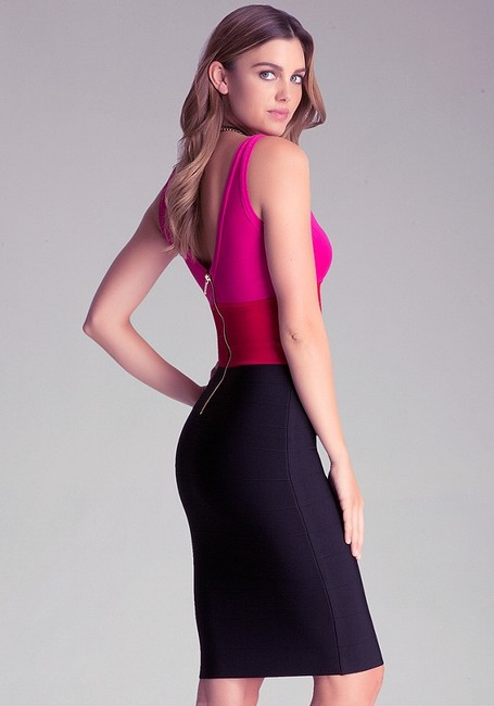bebe Bodycon Colorblock Cocktail Party Dress Image 2