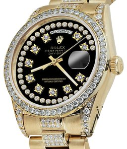 Rolex Rolex Presidential Day Date Black String Dial Diamond Watch 18 KT Yellow Gold