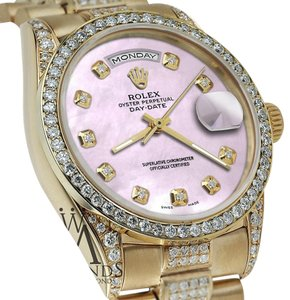 Rolex Rolex Presidential Day Date Tone Pink Dial Diamond Watch 18 KT Yellow Gold