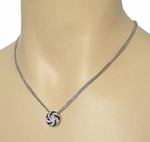 Oliva 18k Wgold Black White Diamond Swirl Pendant Triple Chain Necklace