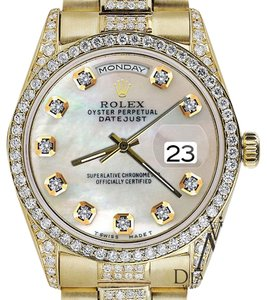 Rolex Rolex Yellow Gold Presidential Day Date White Dial Diamond Watch 18 KT Gold