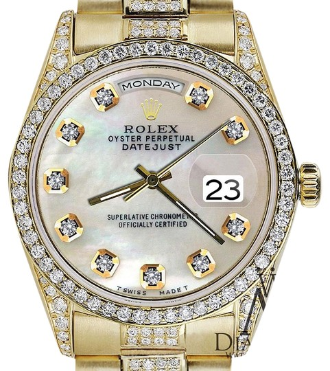 rolex yellow gold presidential day date white dial diamond. Black Bedroom Furniture Sets. Home Design Ideas