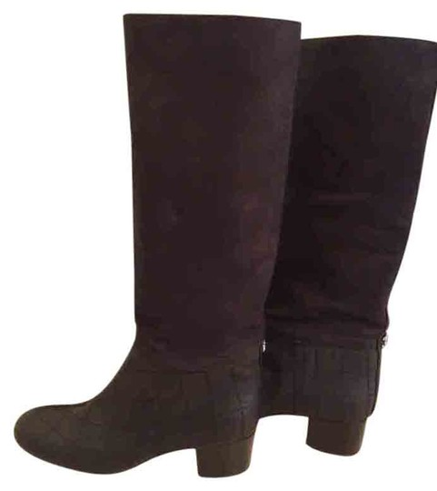Chanel Suede Leather Classic BLACK Boots Image 0