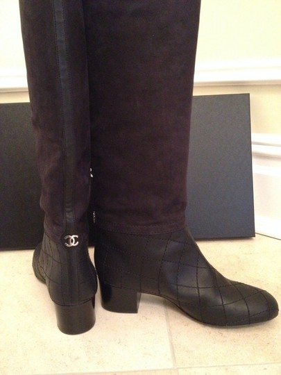 Chanel Suede Leather Classic BLACK Boots Image 1