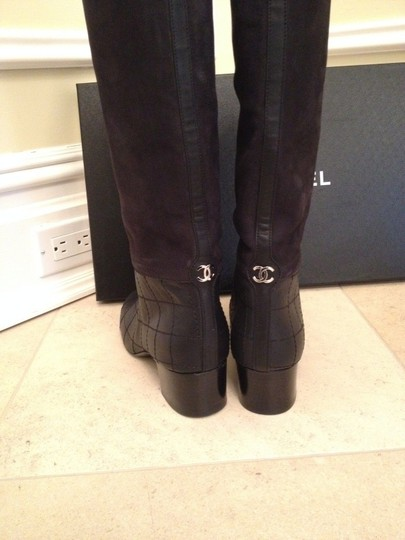 Chanel Suede Leather Classic BLACK Boots Image 4