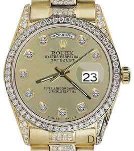 Rolex Rolex Yellow Gold Presidential Day Date Champagne Dial Diamond Watch 18 KT Gold