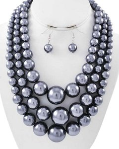 Other Grey Synthetic Pearl Graduating Multi Row Necklace & Earrings - MEDIUM