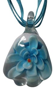 New Blue lampwork flower necklace